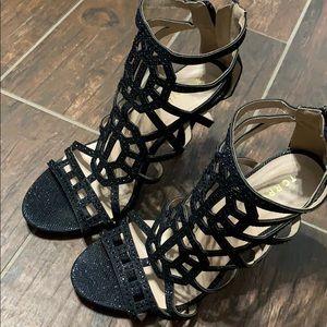 Black rhinestone caged heel